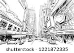 times square. new york. usa.... | Shutterstock .eps vector #1221872335