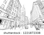 times square. new york. usa.... | Shutterstock .eps vector #1221872338