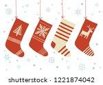 christmas sock. set of...   Shutterstock .eps vector #1221874042
