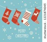 christmas socks vector...   Shutterstock .eps vector #1221874045