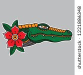 flash tattoo head crocodile ... | Shutterstock .eps vector #1221886348
