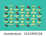 pattern of fruit pieces of... | Shutterstock . vector #1221905158
