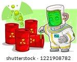 cartoon scientist in protective ... | Shutterstock .eps vector #1221908782