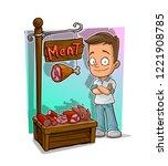 cartoon handsome boy character... | Shutterstock .eps vector #1221908785