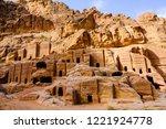 petra  jordan. tombs and... | Shutterstock . vector #1221924778