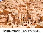 petra  jordan. tombs and... | Shutterstock . vector #1221924838