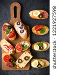 open faced sandwich canape or... | Shutterstock . vector #1221927598