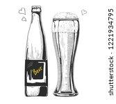 bottle of beer. glass with beer.... | Shutterstock .eps vector #1221934795