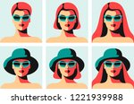 set of abstract portraits of... | Shutterstock .eps vector #1221939988