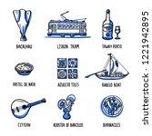 portugal landmarks set. symbols ... | Shutterstock .eps vector #1221942895