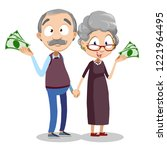 smiling aged couple holding... | Shutterstock .eps vector #1221964495