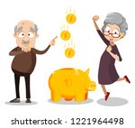 cheerful senior couple with...   Shutterstock .eps vector #1221964498