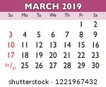 2019 calendar march month.... | Shutterstock .eps vector #1221967432