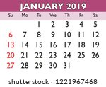 2019 calendar january month.... | Shutterstock .eps vector #1221967468