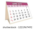 2019 june month in a desk... | Shutterstock .eps vector #1221967492