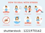 how to deal with stress guide.... | Shutterstock .eps vector #1221970162