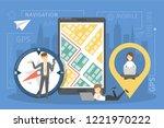 mobile gps navigation concept.... | Shutterstock .eps vector #1221970222