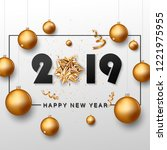 happy new year lettering and... | Shutterstock .eps vector #1221975955