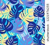 seamless summer tropical leaves ... | Shutterstock . vector #1221976255