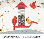 cute red northern cardinal bird ... | Shutterstock . vector #1221980395