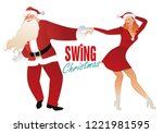 christmas couple dancing swing  ... | Shutterstock .eps vector #1221981595