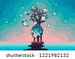 hand drawn abstract mystery... | Shutterstock .eps vector #1221982132