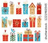 big vector set of christmas... | Shutterstock .eps vector #1221983545