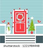 christmas door with christmas... | Shutterstock .eps vector #1221984448