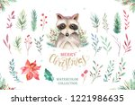 set of christmas woodland cute... | Shutterstock . vector #1221986635