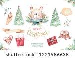 set of christmas woodland cute... | Shutterstock . vector #1221986638