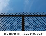 isolated chain link fence.... | Shutterstock . vector #1221987985