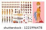 firefighter female character in ... | Shutterstock .eps vector #1221996478