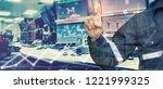 double exposure of engineer... | Shutterstock . vector #1221999325