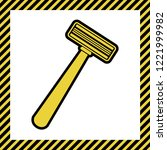 safety razor sign. vector. warm ... | Shutterstock .eps vector #1221999982