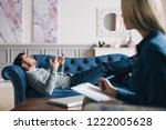 sad man talking with... | Shutterstock . vector #1222005628