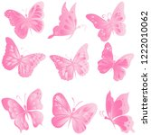 set  insect  beautiful  pink... | Shutterstock .eps vector #1222010062