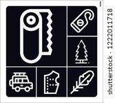 set of 6 vintage outline icons... | Shutterstock .eps vector #1222011718