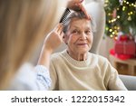 a health visitor combing hair... | Shutterstock . vector #1222015342