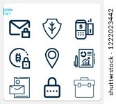 simple set of  9 outline icons... | Shutterstock .eps vector #1222023442