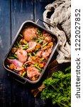 prepared for baking chicken... | Shutterstock . vector #1222027852