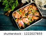 prepared for baking chicken... | Shutterstock . vector #1222027855