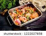 prepared for baking chicken... | Shutterstock . vector #1222027858