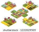 vector 3d isometric rural farms ... | Shutterstock .eps vector #1222029505