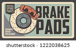 Car repair service vintage poster with brake pads. Original auto parts shop retro signboard. Restoration and broken details replacement, diagnostic of vehicle internal mechanism, garage station vector - stock vector