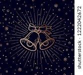 christmas bells. golden sign... | Shutterstock .eps vector #1222042672