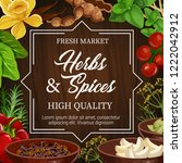 herbs and spices  farm market... | Shutterstock .eps vector #1222042912