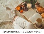 cozy winter evening   warm... | Shutterstock . vector #1222047448