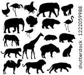 silhouette elephant bear eagle... | Shutterstock .eps vector #1222059988