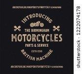 retro styled modern font.... | Shutterstock .eps vector #1222074178