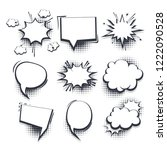 big set hand drawn monochrome... | Shutterstock .eps vector #1222090528